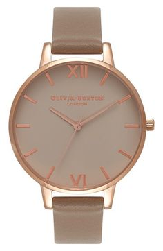 Free shipping and returns on Olivia Burton Go For Griege Leather Strap Watch, 38mm at Nordstrom.com. An elegantly refined round-dial watch on a slim leather strap gleams with a highly polished rose-gold case and traditional bar and roman numeral indexes.