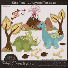 Dino Time Layered Templates -  GS Creations