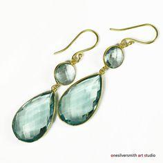 Vermeil Artigiano Large Sage-Quartz Double Layered Vermeil Drop Earrings OAS #onesilversmithartstudioOAS #Dangle