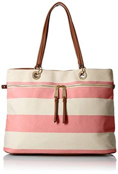 Tommy Hilfiger Camille Rugby Tote Top Handle Bag Calypso CoralNatural One Size -- More info could be found at the image url.