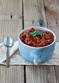 Crock Pot Coconut Curry Baked Beans recipe - An easy new twist on baked beans (and vegetarian too!)