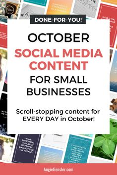 Get scroll-stopping content for every day in October with this Content Pack. You'll get custom images that you can edit in Canva along with a text status and 3 hashtags for each day. Your social media content is done for the entire month! Business Growth Quotes, Business Tips, Content Marketing, Social Media Marketing, Digital Marketing, Social Media Content, Social Media Tips, How To Use Facebook, Social Media Influencer