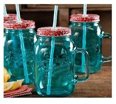Amazon.com | The Pioneer Woman Simple Homemade Goodness 32-Ounce Mason Jars with Handle, Lid and Straw, Set of 4 (Teal): Cups, Mugs & Saucers