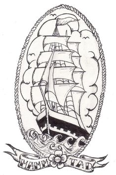 "Old school ship. Tribute to the ""Belem"", favourite ship of my father. Ink."