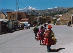 Women walking to market, Huaraz, Peru.