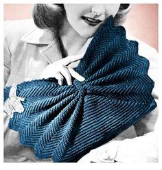 1940s Crochet Pattern Fan Shape Purse Crocheted Clutch Handbag Vintage Digital Download PDF