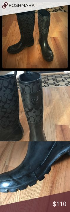 """Coach rain boots Black with signature coach C material on top. Coach embossed """"coach est. 1941"""" on the from top of each boot. One nic that is picture on right inside boot. Not noticeable. Great condition. Coach Shoes Winter & Rain Boots"""