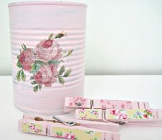 pretty clothespins and painted can.