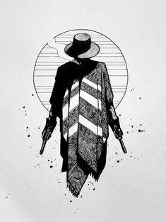 Gunslinger, pen and ink, : Art Art Drawings Sketches, Tattoo Drawings, Cowboy Tattoos, Western Tattoos, Creation Art, Arte Obscura, Cowboy Art, Tatoo Art, Pen Art