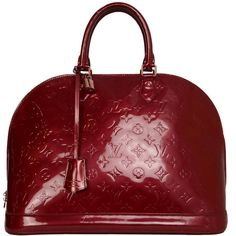 Pre-owned LOUIS VUITTON Red Monogram Vernis Alma GM Tote Bag GHW ($2,000) ❤ liked on Polyvore featuring bags, handbags, tote bags, purses, louis vuitton, handbags and purses, totes, red leather handbag, leather tote bags and burgundy leather tote