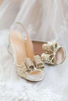 Gold Glitter Peep Toe Kate Spade Pumps with Bow Detail