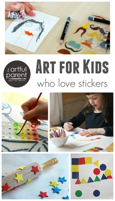 13 sticker art projects for kids, including sticker resist, drawing prompts, printing, DIY stickers, and collages. Love these!