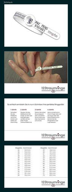 Ringmaßband/Ringgrößenmesser mit ausführlicher Anleitung von 123traumringe - Bestimmen Sie Ihre Ringgröße selbst! - 1531 Band, Wedding Rings, Engagement Rings, Jewelry, Shopping, Knives, Watches, Ring, Tutorials