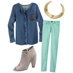 Lleva tu camisa de mezclilla con unos jeans de color pastel, te verás en tendencia y muy fresca. #TheLook #Fashion