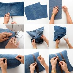Jeans, jeans the magical pants; the more you wear 'em, the better you dance (right? Sewing for Beginners: 3 Patterns - Tool Roll, Phone Case and Pillow How to Upcycle Your Jeans into Pillows and Bags via Brit Co Today, we're going to help you out with Diy Jeans, Sewing Basics, Sewing For Beginners, It Pennywise Costume, Porte Diy, Jean Diy, Tool Roll, Diy Clothes Refashion, Diy Clothes Videos