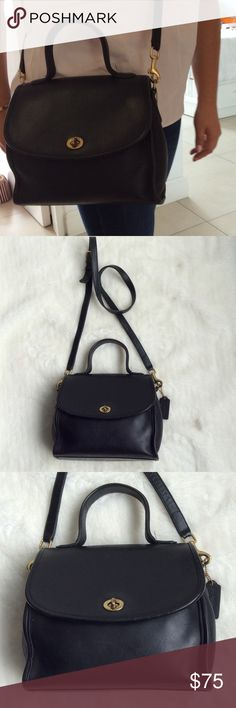 """Vintage Coach Legacy Black Leather Crossbody Bag Vintage Coach Legacy Black Leather Crossbody Bag. 9"""" wide and 8"""" tall. Strap is 49""""  long adjustable. Pocket on the outside. Also double pockets on the inside. Bag has normal regular wear. Please look at pictures for better reference. Happy shopping!!! Coach Bags Crossbody Bags"""