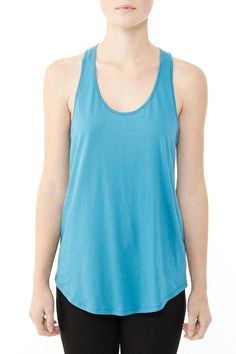 Racer back throw on tank makes a perfect layering tee with a hi lo shirttail hem line.   Shirttail Tank Top by Alternative Apparel. Clothing - Tops - Tees & Tanks California