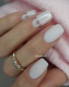 """One of the most important trends in the world of manicure in 2020 become """"milk nails"""" or «Milky Nails Square Nail Designs, Acrylic Nail Designs, Nail Art Designs, Nails Design, Bride Nails, Wedding Nails, Manicures, Gel Nails, Nail Polish"""