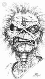 Image result for Eddie Iron Maiden Black and White