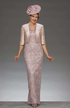 0bba203f84 Full length lace dress with matching jacket. 73817 long - Catherines of  Partick