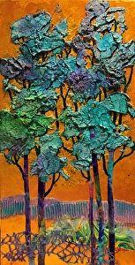 Blue Trees   14033 by Carol Nelson mixed media ~ 16 x 8