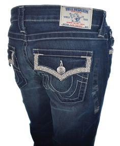 True Religion Womens Jeans Size 27 Slim Straight w/ Flaps Crystal Mesh NWT $315 #TrueReligion #StraightLeg