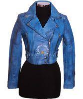 Missy Island Blue Cropped Ladies New Biker Real Sheep Nappa Leather Short Jacket