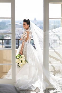 real wedding photo at four seasons los angeles at beverly hills planned by international event company long sleeve illusion wedding dress Event Company, Luxury Decor, Beverly Hills, Illusions, Real Weddings, Wedding Gowns, Brides, Seasons, Couture