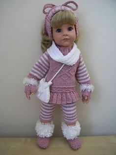 AMERICAN GIRL/GOTZ HANNAH/DESIGNAFRIEND HAND KNITTED DOLLS CLOTHES