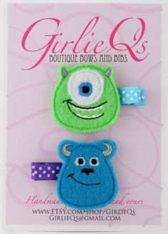 Monster's Inc Felt Hair Clip Clippie 2-pack Embroidered Mike Wazowski Sulley Sully Disney Pixar Monster's University by GirlieQs on Etsy https://www.etsy.com/listing/155352814/monsters-inc-felt-hair-clip-clippie-2