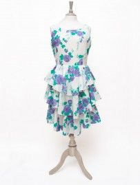 Vintage Purple & White Floral Frill Dress from Lallys Closet - £25