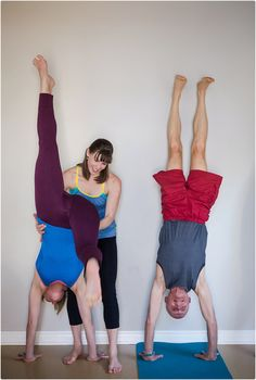 Yoga adjustments photo! Yoga for all ages. Love that retired guy rocking handstand!