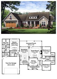 House Plan 59182 This inviting craftsman home includes all the features that you and your family have always dreamed of having. The well-appointed floorplan design makes use of every available space while providing many extras that you would expect to f New House Plans, Dream House Plans, House Floor Plans, My Dream Home, Dream Houses, Ranch Floor Plans, 3 Bedroom Home Floor Plans, Nice Houses, Craftsman House Plans