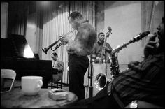 """[l to r] Red Garland, Miles Davis, Paul Chambers and Julian """"Cannonball"""" Adderley at Davis's Milestones session, February 4 or March 4 1958, Columbia 30th Street Studios, NYC (photo by Dennis Stock)"""