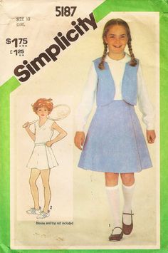 Vintage Sewing Pattern - 1981 Girls Jiffy Front-Wrap Skirt and Reversible Vest, Simplicity 5187 Size 10