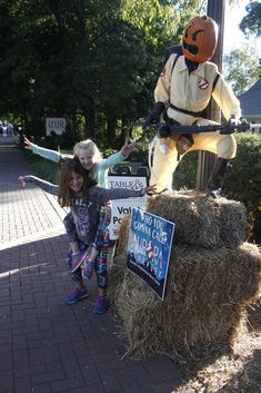 """In celebration of the fall season and Halloween, the streets of downtown Roswell and Alpharetta are full of """"scarecrows."""" Schools and businesses put their take on the iconic Halloween decoration, Book Character Costumes, Movie Characters, Girl Scout Troop, Girl Scouts, Pokemon Go, Pikachu, The Great Pumpkin Patch, The Lorax, Christian School"""