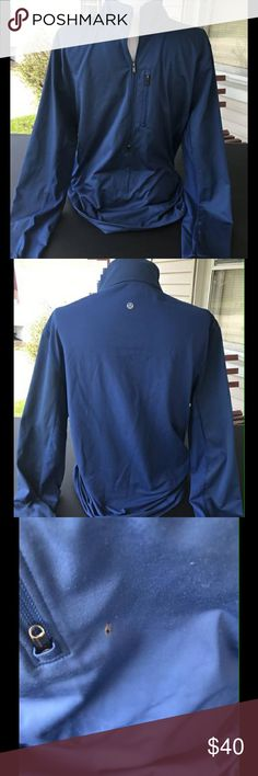 Mens LuLuLemon Shirt It is a size large, color is dark blue, has a small hole in the front, everything else is in mint condition!  I do not accept returns the condition is listed if there is a stain or something I would list it so when you buy it the sale is Final I will not return. All items are preowned so they will have some wear. lululemon athletica Tops Tees - Long Sleeve