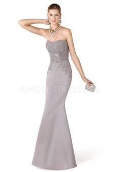 Strapless Floor Length Satin Mermaid Sleeveless Empire Waist Evening Dress