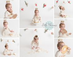 Simple floral cake smash, first birthday, white, flowers, mason jars Cake Smash Pictures, Chadds Ford, Kennett Square, Chester County, Birthday Cake Smash, Floral Cake, Photographing Babies, Family Photographer, Newborn Photography