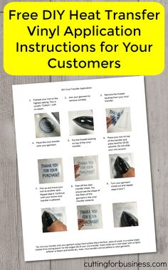 Free DIY Heat Transfer Vinyl Application Instructions to Use for Customers in Your Silhouette Cameo or Cricut Small Business - by cuttingforbusiness.com