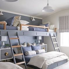 Lovely Lavender Fairytale Girl's Bedroom — Decor For Kids Bunk Bed Rooms, Bunk Beds Built In, Built In Beds For Kids, House Bunk Bed, Double Bunk Beds, Loft Bunk Beds, Full Bunk Beds, Custom Bunk Beds, Home Interior