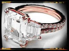 Pink Gold Rustic Three Stone Emerald cut Diamond Vintage Style Split Band Engagement Ring For a Large Diamond #rustic