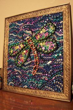 Items similar to Recycled Mardi Gras Bead Art Mosaic on Etsy Mosaic Crafts, Mosaic Projects, Mosaic Art, Art Projects, Bead Crafts, Mardi Gras Decorations, Mardi Gras Beads, Dragonfly Art, Beads Pictures