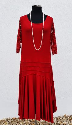Jersey Kleid rot im 20er Jahre Stil von klennes.