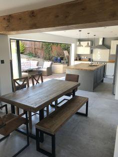 Grey Kitchen Tiles, White Shaker Kitchen, Kitchen Room Design, Kitchen Cabinet Design, Kitchen Decor, Grey Tiles, Kitchen Styling, Kitchen Flooring, Kitchen Designs