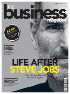The Business - Magazine Cover Design; The font is huge and bulky, making the lettering and words look more like a statement. The black lettering corresponds well with the yellow that highlights 'Steve Jobs' name. The image itself shows half of his face, this possibly signifies that there is more to him than what the image tells you. The magazine cover isn't too over crowded either and it's more or less focused on him.