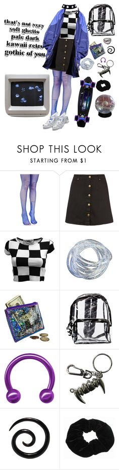 """Female Hacker"" by bufftsuki ❤ liked on Polyvore featuring Leg Avenue, City Chic, Rock Rebel, purple, black, Ghetto, fishnets, vaporwave and plus size clothing"