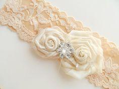 garter set, wedding garters, bridal garters, lace garters, bride, wedding accessory,  beige garters, via Etsy