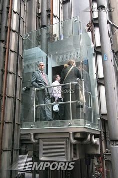 Caption  Glass elevator on the outside  Photographer  Michael Hierner  Subject  The Lloyd's Building  Date Taken  July 2007  Category  exterior photo