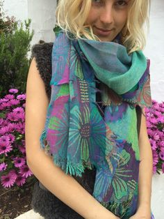 Cosy merino wool shawl in happy blue and turquouse by AUROBELLE
